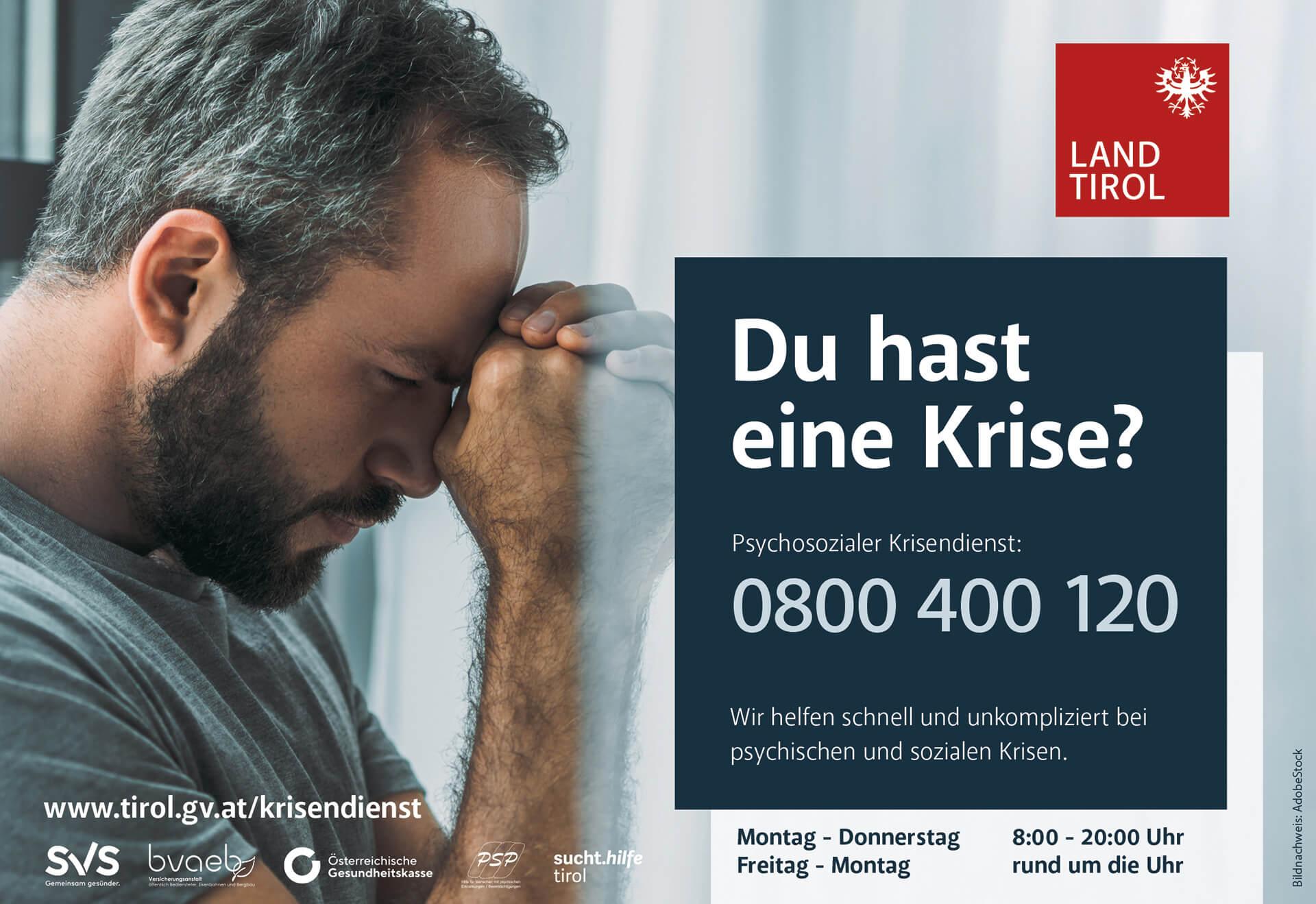Hinweis: Psychosozialer Krisendienst Tirol